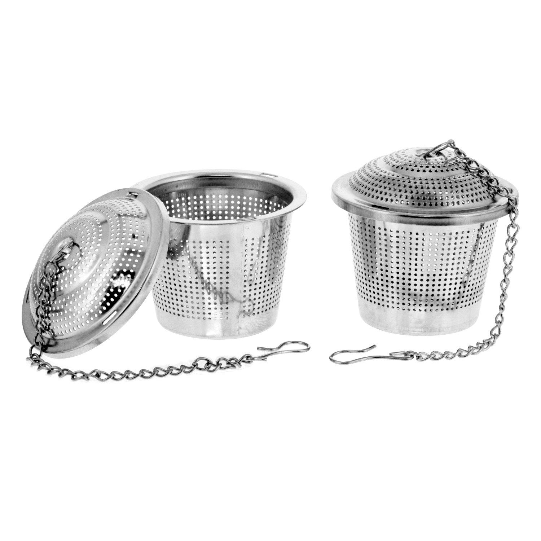 U.S. Kitchen Supply - 2 Premium Stainless Steel Tea Ball Strainer Infusers - 2'' Size with Micro Perforated Mesh - Steep Loose Leaf Tea, Herbal, Spices & Seasonings - Teapot, Tea & Coffee Cup Mug