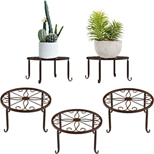 Lewondr Potted Plant Stand, 3 Pack Durable Metal Plant Stands 9 Inch Indoor Rustproof Iron Plant Holder for Garden Container Outdoor Round Supports for Planter - Chocolate