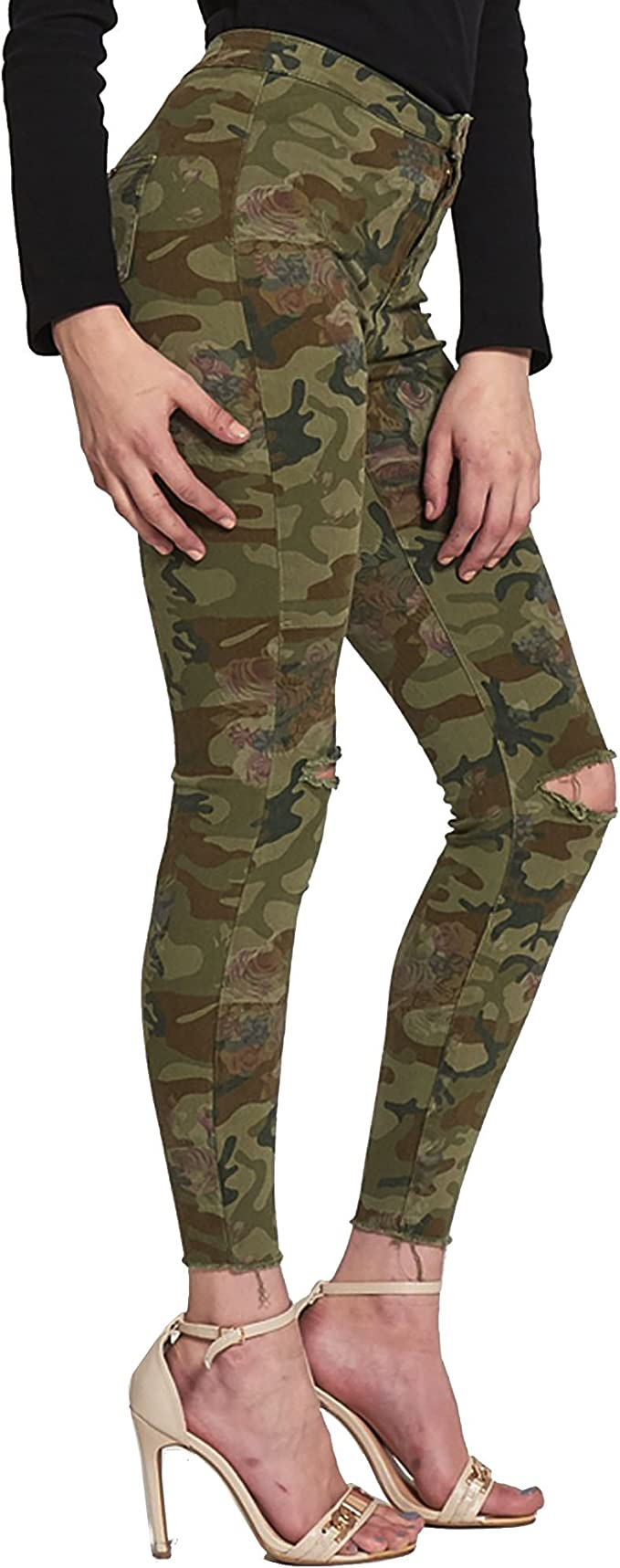 New Womens Ladies Ripped Waist Stretch Plain Camouflage Jeans Size 6-16
