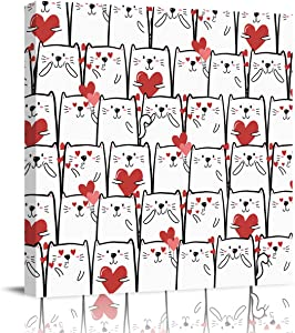 DOME-SPACE Square Canvas Wall Art Cute Cat with Red Heart Shape Artwork for Living Rooms Bedroom Home Decor Ready to Hang,28x28 inches