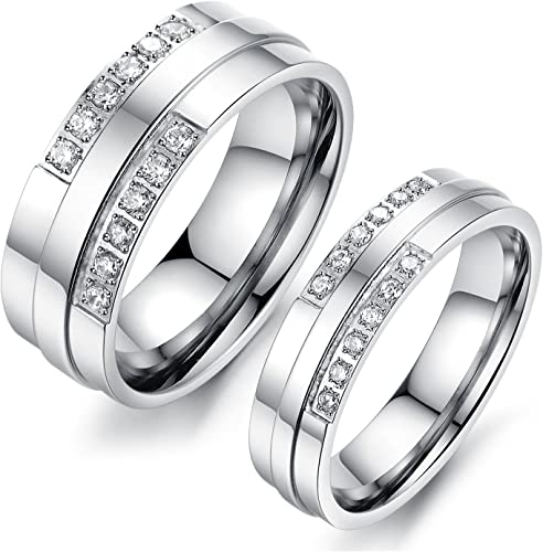 AMDXD Jewelry Couple Rings Stainless Steel Forever Love Cubic Zirconia Silver Gold Rings for Men Stainless Steel 6 MM,Single Sale
