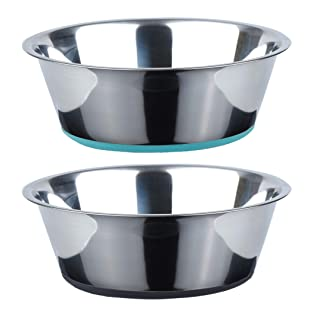 Peggy 11 No Spill Non-Skid Stainless Steel Deep Dog Bowls 66 Oz (8 Cups) Set of 2
