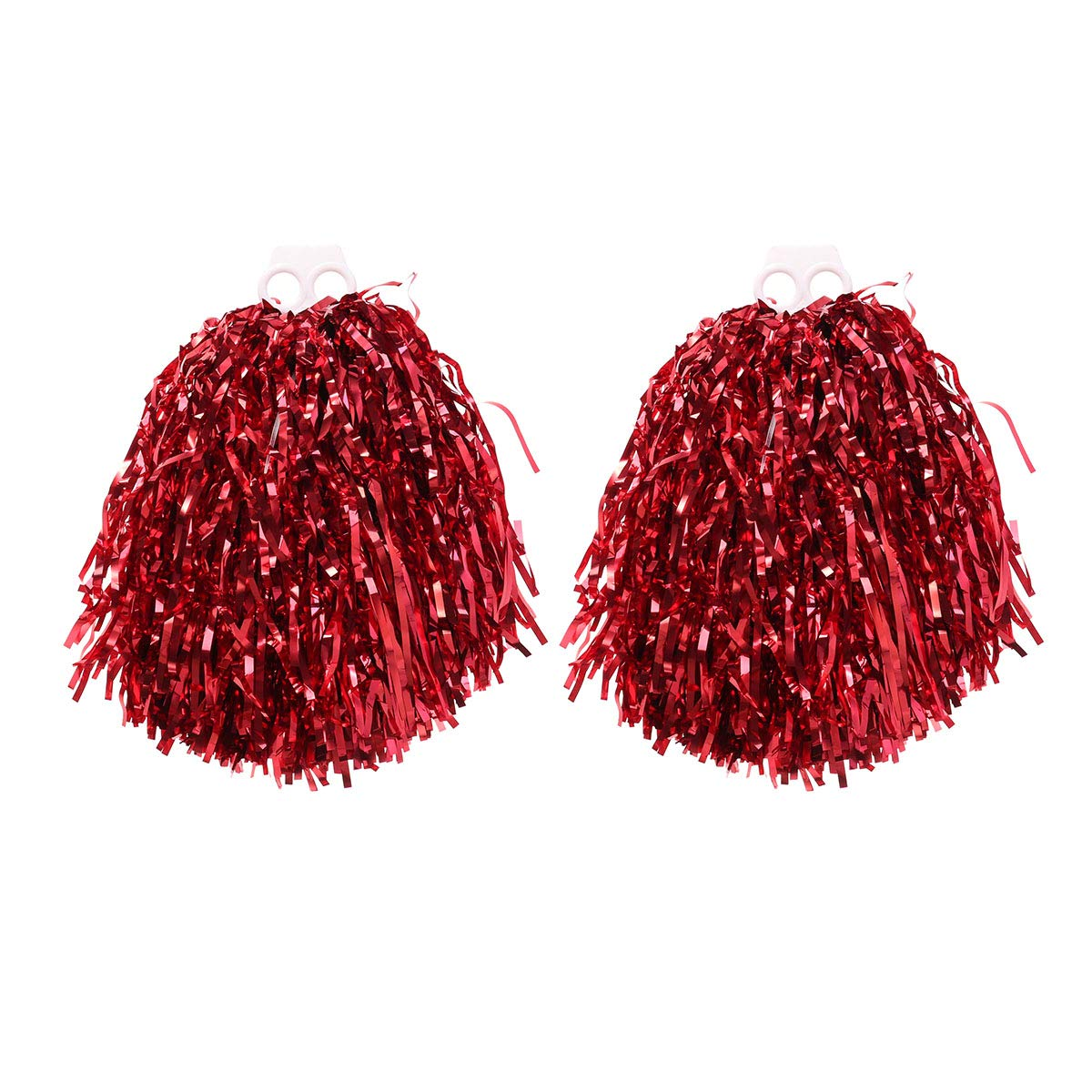 VORCOOL 1 Paar Cheerleader Pompons Metallic Tanzwedel Sport Pompoms Puschel Party Cheer Zubehör (Rot)