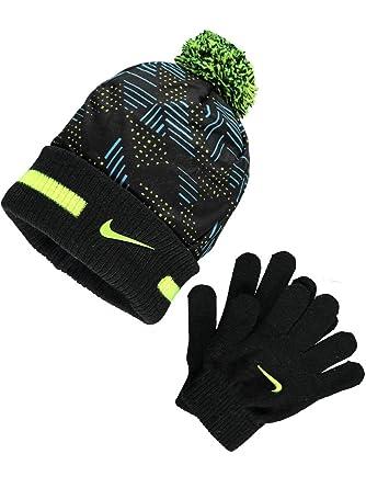 Nike Performance Knit Beanie   Gloves Set - black volt 9b04bd2fa30