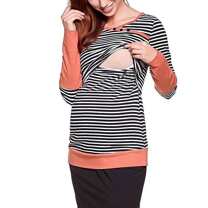 Vin beauty wlgreatsp Raya Maternidad Camiseta Ropa de Lactancia Enfermería Tops para Embarazadas Camiseta de Manga