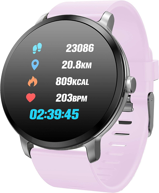 TDOR Smartwatch Hombre Mujer Mensajes Whatsapp, Pulsera Actividad 7 Deportes, Música, Color Rosa
