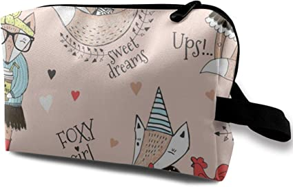 Bolsa de cosméticos para mujeres, lindo personaje de Fox sin patrón. Estuche de garabatos: Amazon.es: Belleza