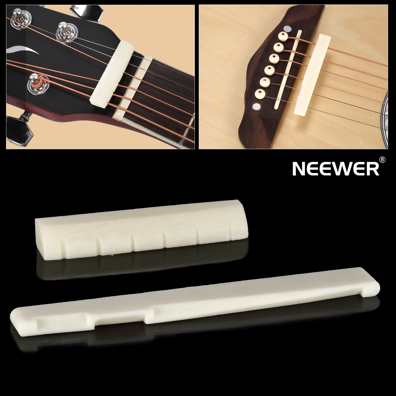 neewer 6 string acoustic guitar bone bridge saddle and