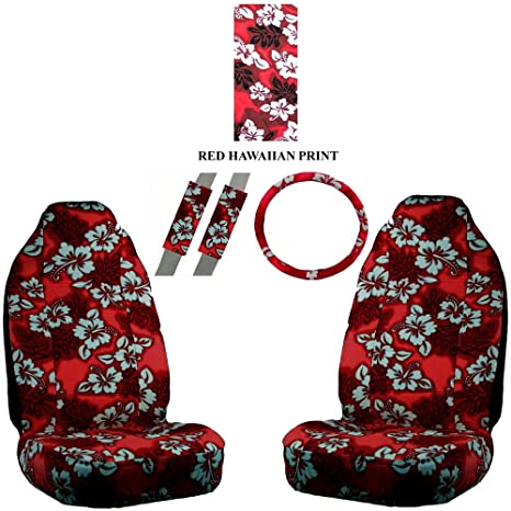 A Set Of 5 Pc Universal Fit Hawaiian Front Bucket Seat Cover Steering