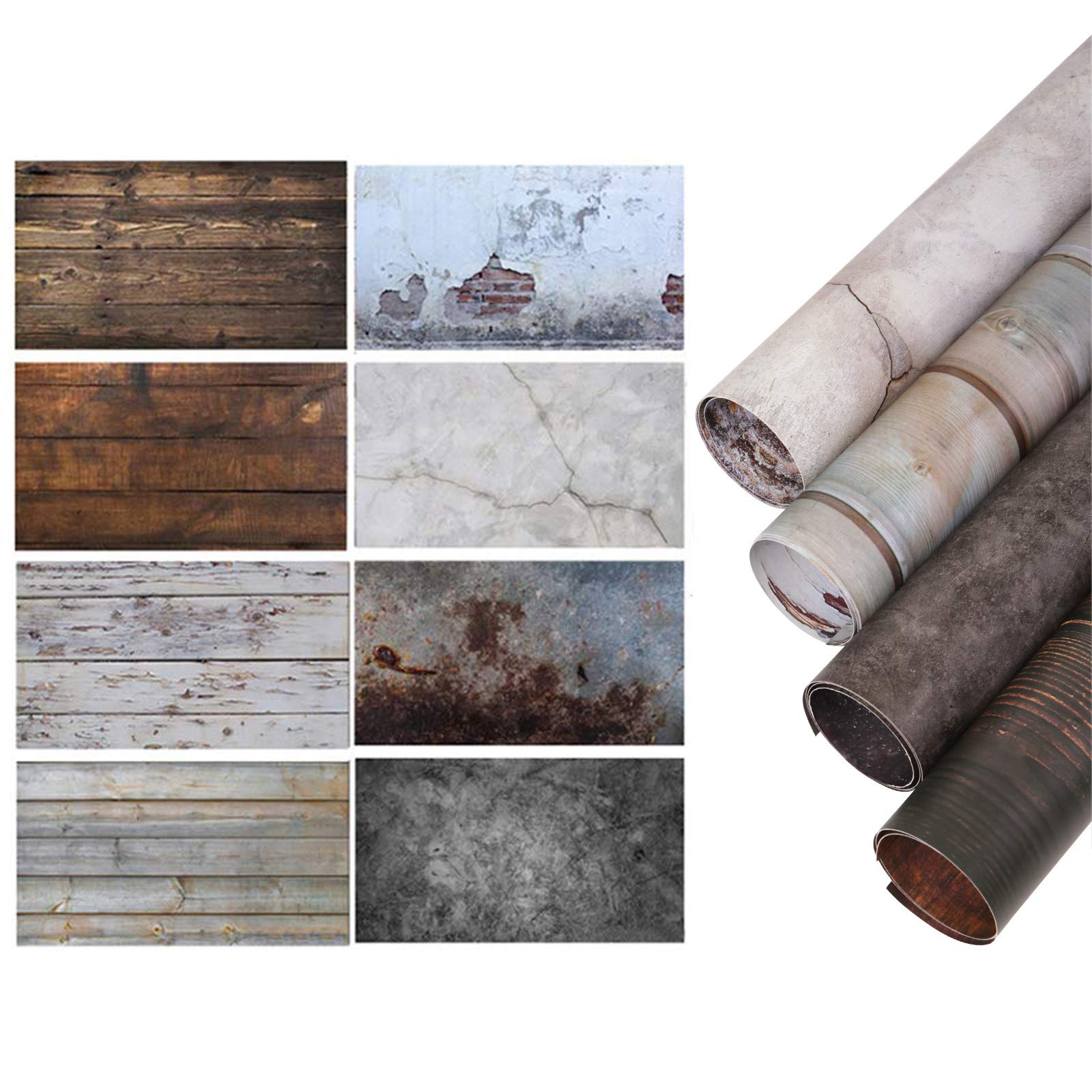 Selens 22x35Inch 2-in-1 Food Photography Wooden Background 4pcs Paper for Photographers, Foodies, Gourmet Bloggers, Cosmetic Sellers, Online Stores Product Photography, Life Photos and More by Selens (Image #1)