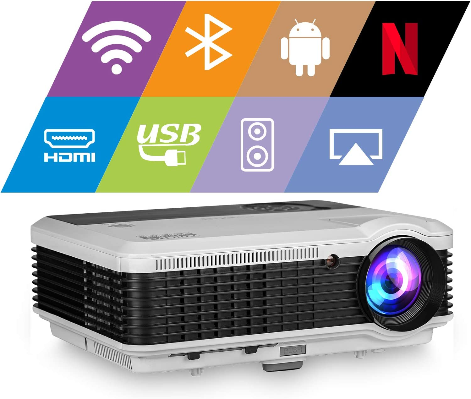 Bluetooth Smart TV Projector Home Theater 1080P Max 200