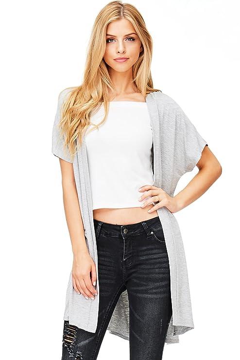 b0b037922ca41 Emma's Closet Women's Perfect Layering Short Sleeve Cardigan (S, H. Grey):  Amazon.ca: Luggage & Bags