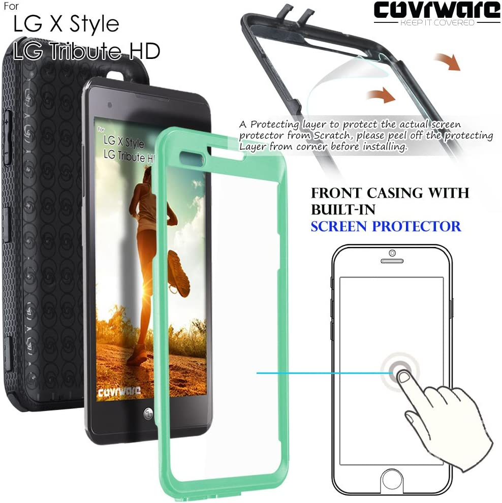 LG Tribute HD/LG X Style/Volt 3, COVRWARE [Aegis Series] with Built-in [Screen Protector] Heavy Duty Full-Body Rugged Holster Armor Case [Belt Swivel ...