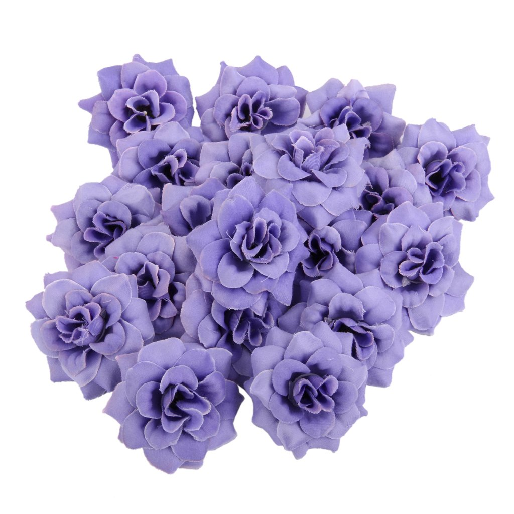 50x Artificial Rose Flowers Heads Wedding Party Decoration Lilac Generic