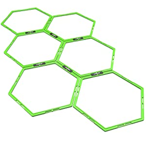 Synergee Hexagon Agility Rings. Tangle-Free Agility Ladder with a Strong Hex Ring Grid. Great for Agility Work