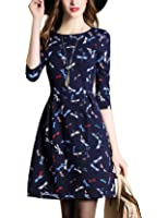 DanMunier Women's 3/4 Sleeve Print Cocktail Party Fit and Flare Wrap Dress #5322