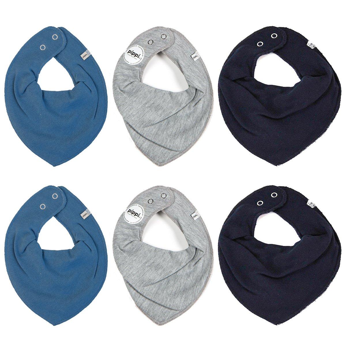 Pippi 6er Pack Baby Jungen Halstuch, Farbe: Blau, Grau und Dunkelblau, One Size