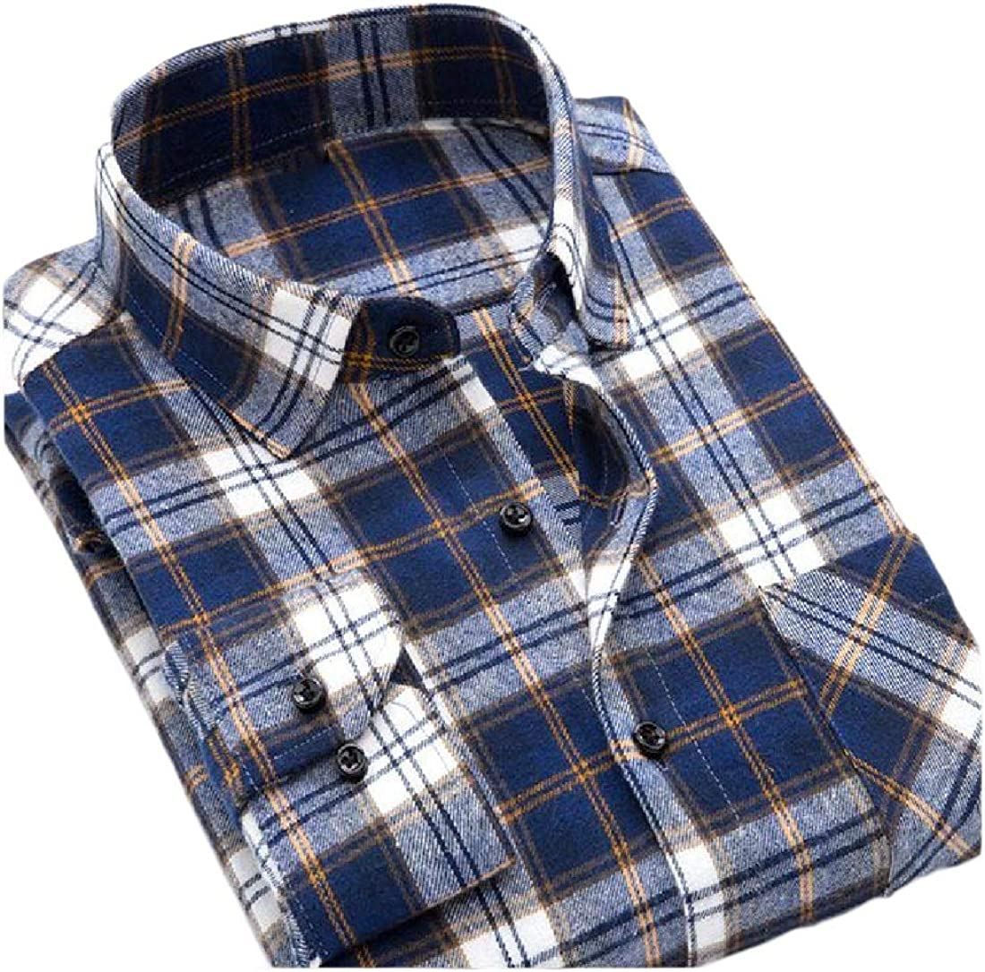 YUNY Mens Long Sleeve Button Slim Fitted Classic Plaid Vogue T-Shirts Sapphire Blue L