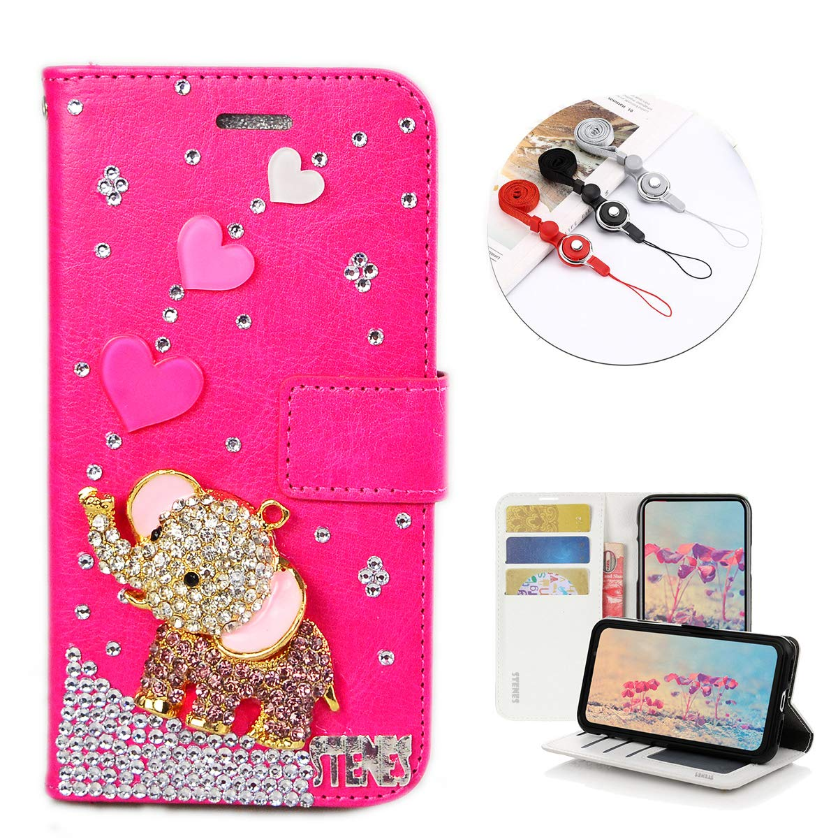 STENES Bling Wallet Phone Case Compatible with LG Tribute HD/LG X Style - Stylish - 3D Handmade Heart Cute Elephant Design Leather Cover with Neck Strap Lanyard [3 Pack] - Hot Pink