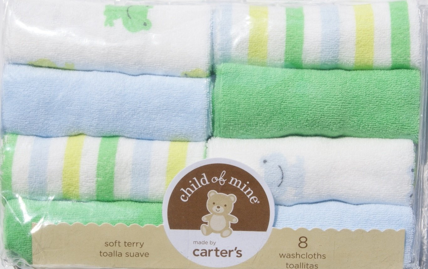 Amazon.com : Carters Baby Boy Terry Washcloths - Green & Blue Froggy Themed (8-Pack) : Baby