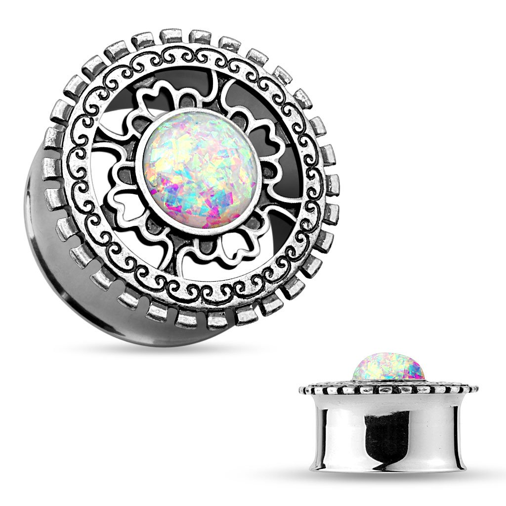 MoBody One Pair Created-Opal Centered Double Flared Filigree Shield Top Ear Gauge Plug Tunnels 0G (8mm)