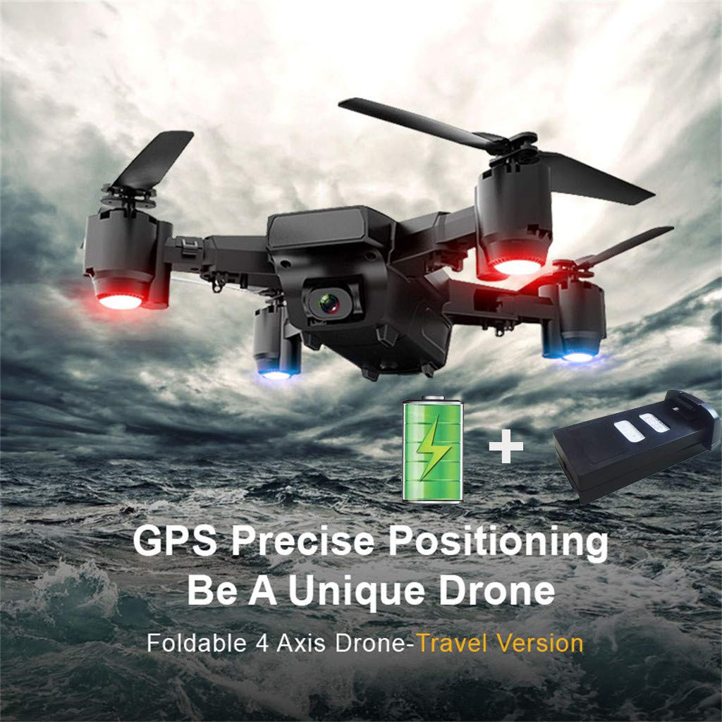 S30 5MP 1080P HD Camera 5G GPS WiFi FPV Foldable RC Drone Quadcopter+The Baertty - Automatic Return ,Waypoint Fly ,Complete Accessories (Black)