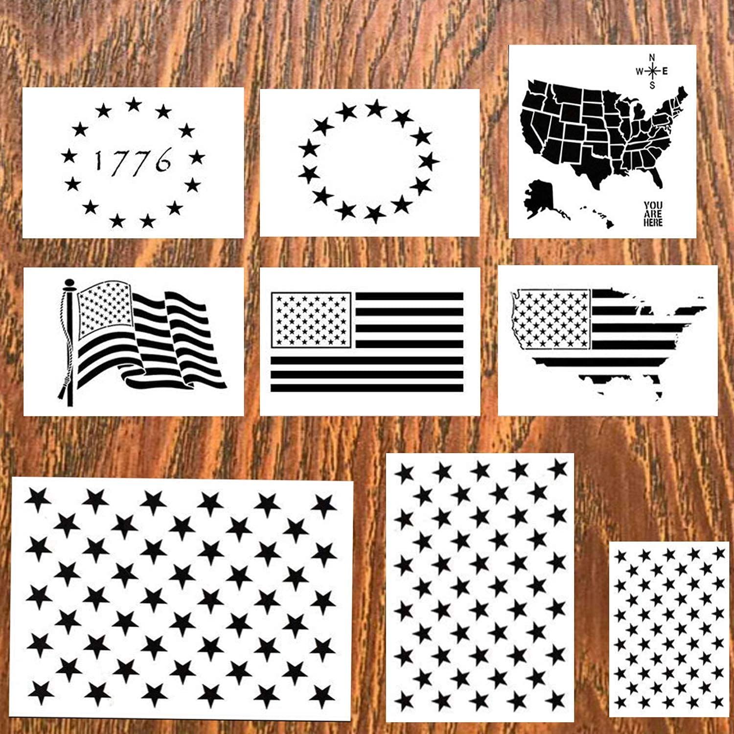 DmHirmg 9pcs American Flag Stencil Plastic Stencil Template for Planner/Notebook/Diary/Scrapbook/Graffiti/Card, DIY Drawing Painting Craft Projects