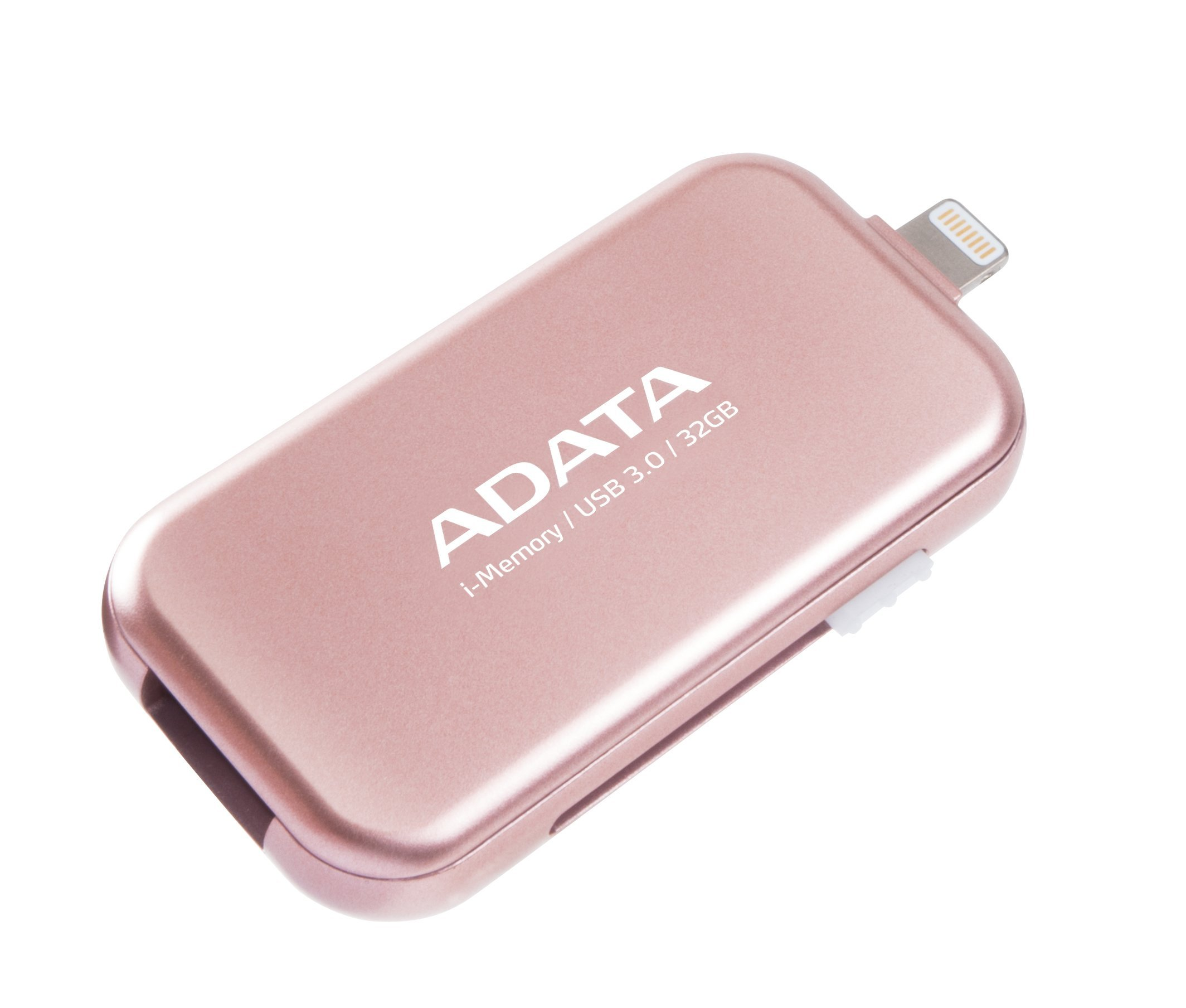 ADATA 32 GB MFi Certified Lightning/ USB 3.0 Retractable Flash Drive for iPad, PC, Rosegold (AUE710-32G-CRG)