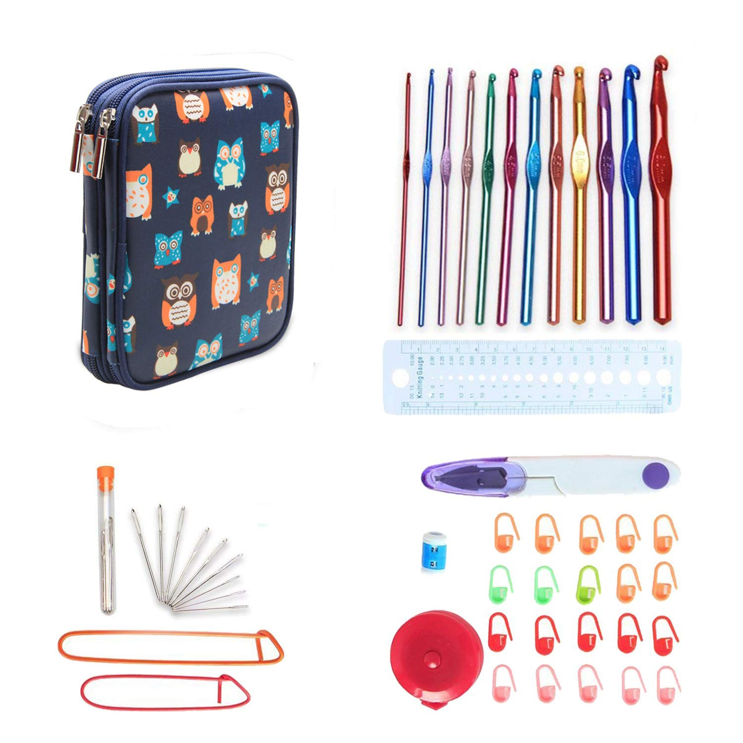 Teamoy Aluminum Crochet Hooks Set, Knitting Needle Kit, Organizer Carrying Case with 12pcs 2mm to 8mm Hooks and Complete Accessories, All in One Place and Easy to Carry, Owls