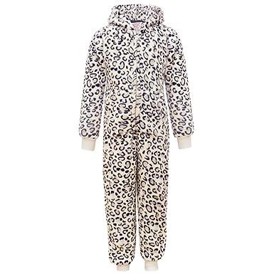 6271e88d95 New Girls Onesie All In One Sleepwear Snow Leopard White Pink Animal Print  Onesies Fleece (
