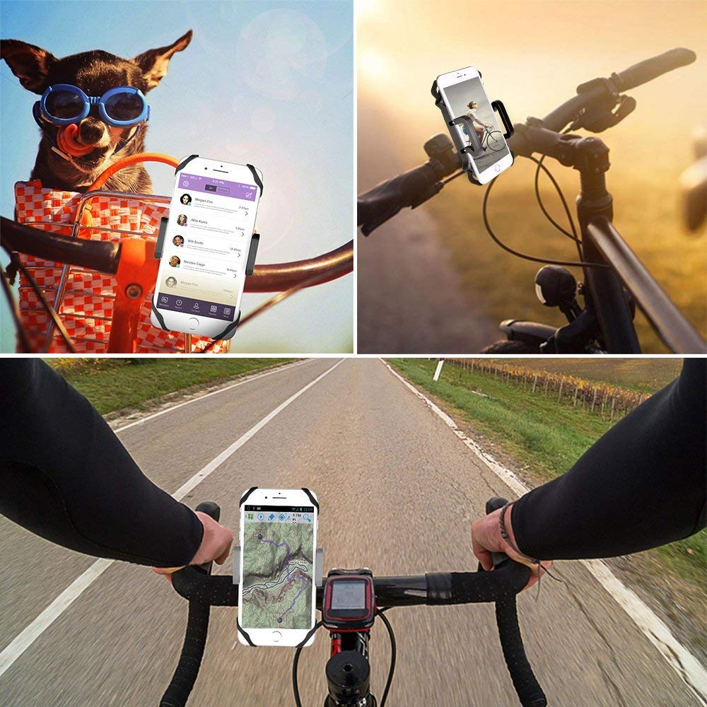 Black Bicycle Phone Mount Mighty Rock Bike Phone Universal Cell Phone Bicycle Handlebar and Motorcycle Holder Cradle with 360 Rotate for Most Smart Phones