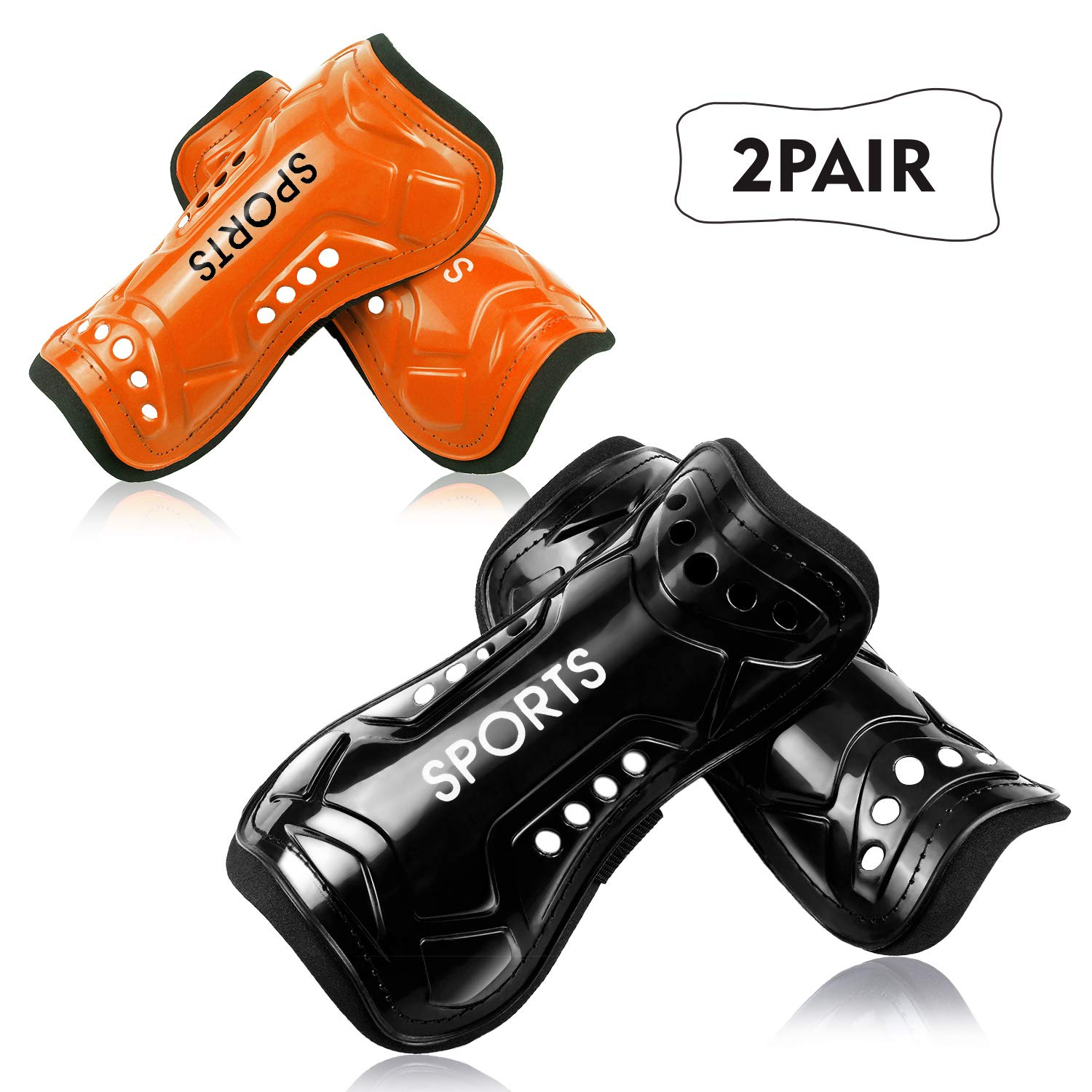 Youth Soccer Shin Guards 2 Pair Lightweight and Breathable Child Calf Protective Gear Soccer Equipment for 3-10 Years Old Boys Girls Children Teenagers