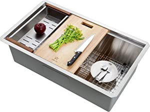 STARSTAR Workstation Ledge Undermount Single Bowl 304 Stainless Steel Kitchen/Yard/Bar/Laundry/Office Sink, With Grid, Wood Hold Colander, Cutting Board, Strainer with Basket (30 x 19 x 10)