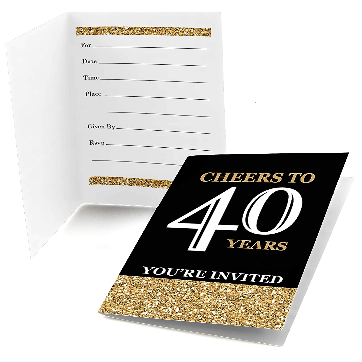 Big Dot of Happiness Adult 40th Birthday Gold Fill in Birthday Party Invitations 8 Count