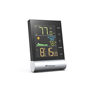 Wittime Latest 2079 Wireless Indoor Outdoor Thermometer, Digital Temperature Humidity Monitor with High Precision, Room Hygrometer with Weather Forecast, HD Color Screen, Alarm Clock