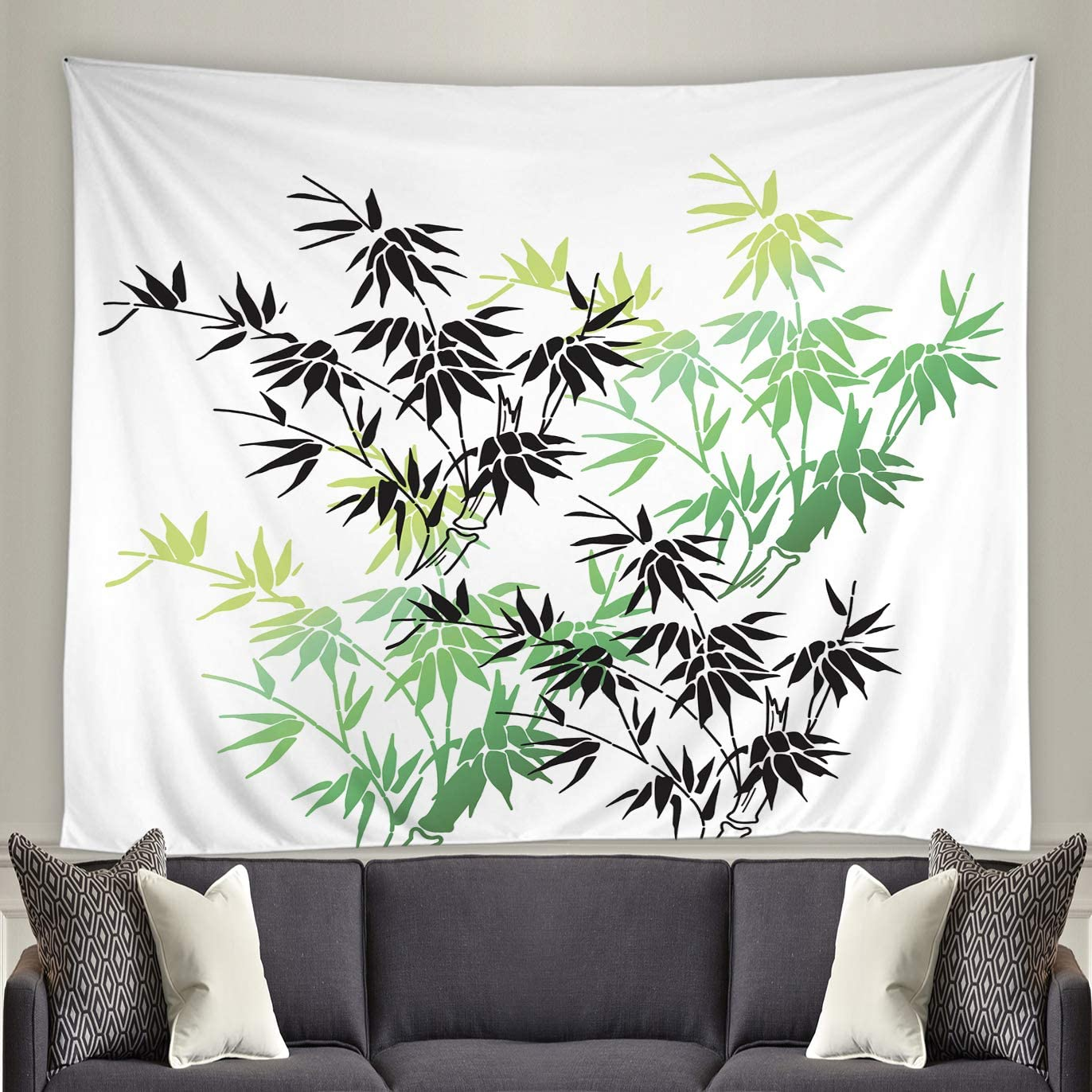Lileihao Bamboo Plant Tapestry Spring Plants Scenery Home Living Room Bedroom Background Cloth Dorm Room Bedside Decor Arrange Curtains Polyester 90 x 70 Inch