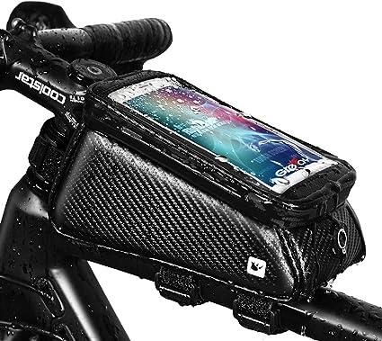 Grefay Sacoche V/élo T/él/éphone Etanche Pochette Guidon VTT Support T/él/éphone Cadre V/élo avec Ecran Tactile Transparent pour Smartphone sous 6,0 Pouces