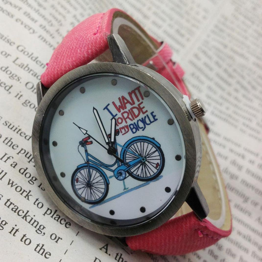 Amazon.com: Watch, PU Denim Strap Vintage Watch Denim Bicycles Male And Female Students Couple Table (Yellow): Watches