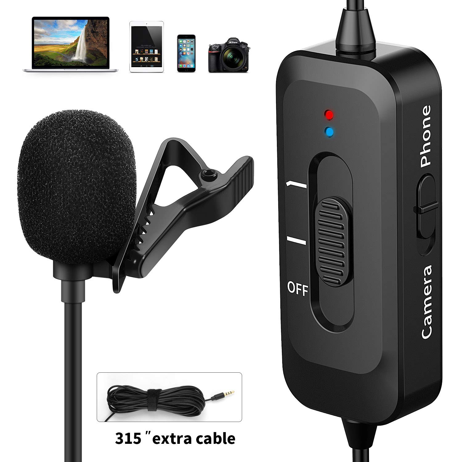Professional Lavalier Microphone for iPhone/Camera/PC/Android, Lapel Mic with USB Charging and Noise Cancellation System for Video Recording, DSLR, Youtube, Podcast, Interview, Vlogging by Shotory