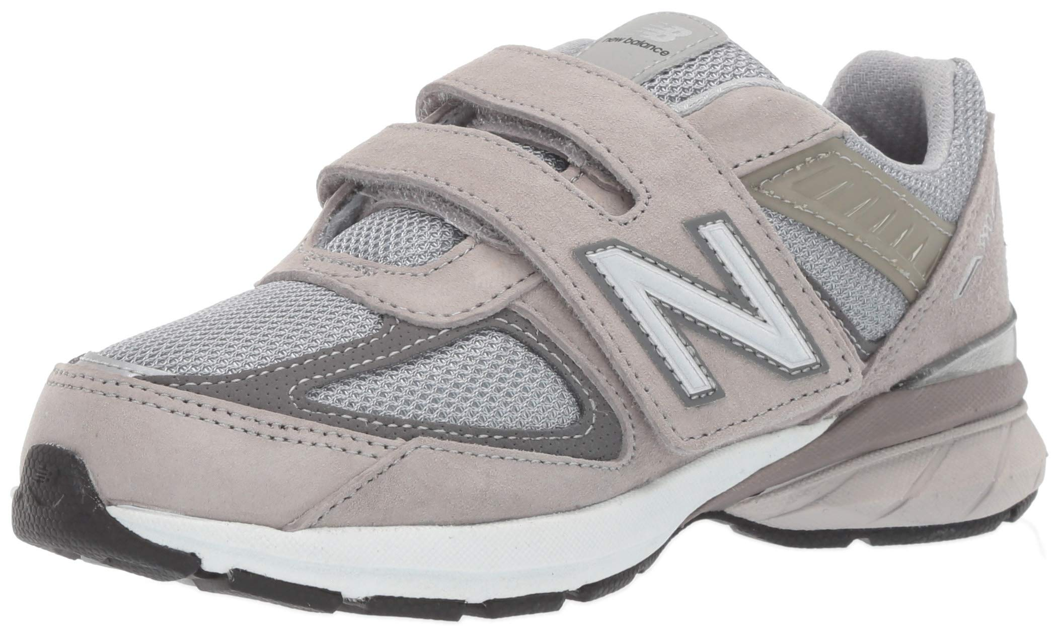 New Balance Boys' 990v5 Hook and Loop Running Shoe, Grey/Grey, 12 M US Little Kid by New Balance