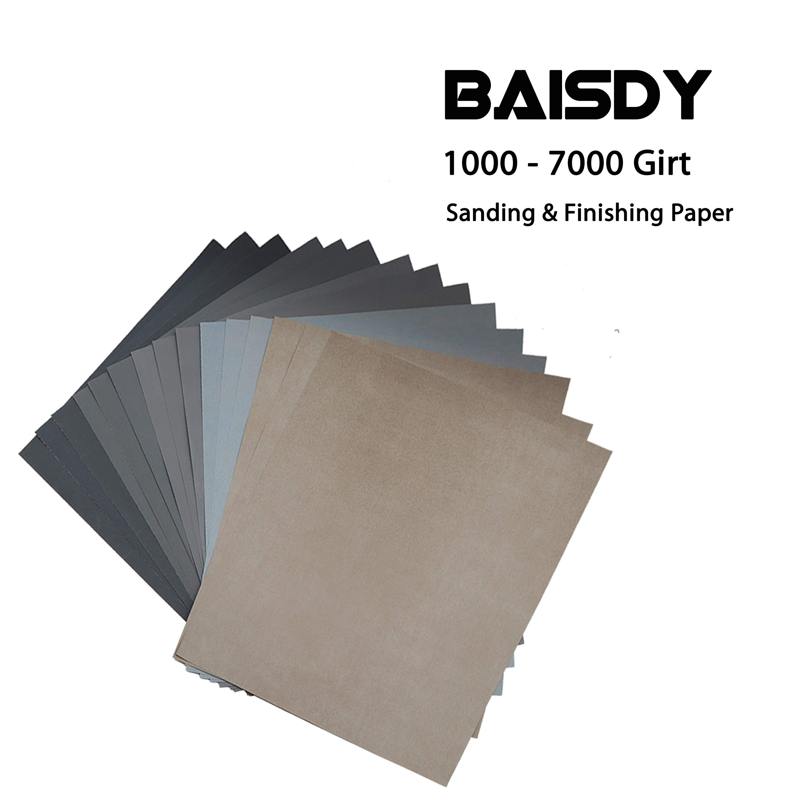15Pcs Wet Dry Sandpaper 1000//2000//3000//5000//7000 Assorted High Grit Polishing Sandpaper Sheets for Automotive Wood Metal Sanding by BAISDY