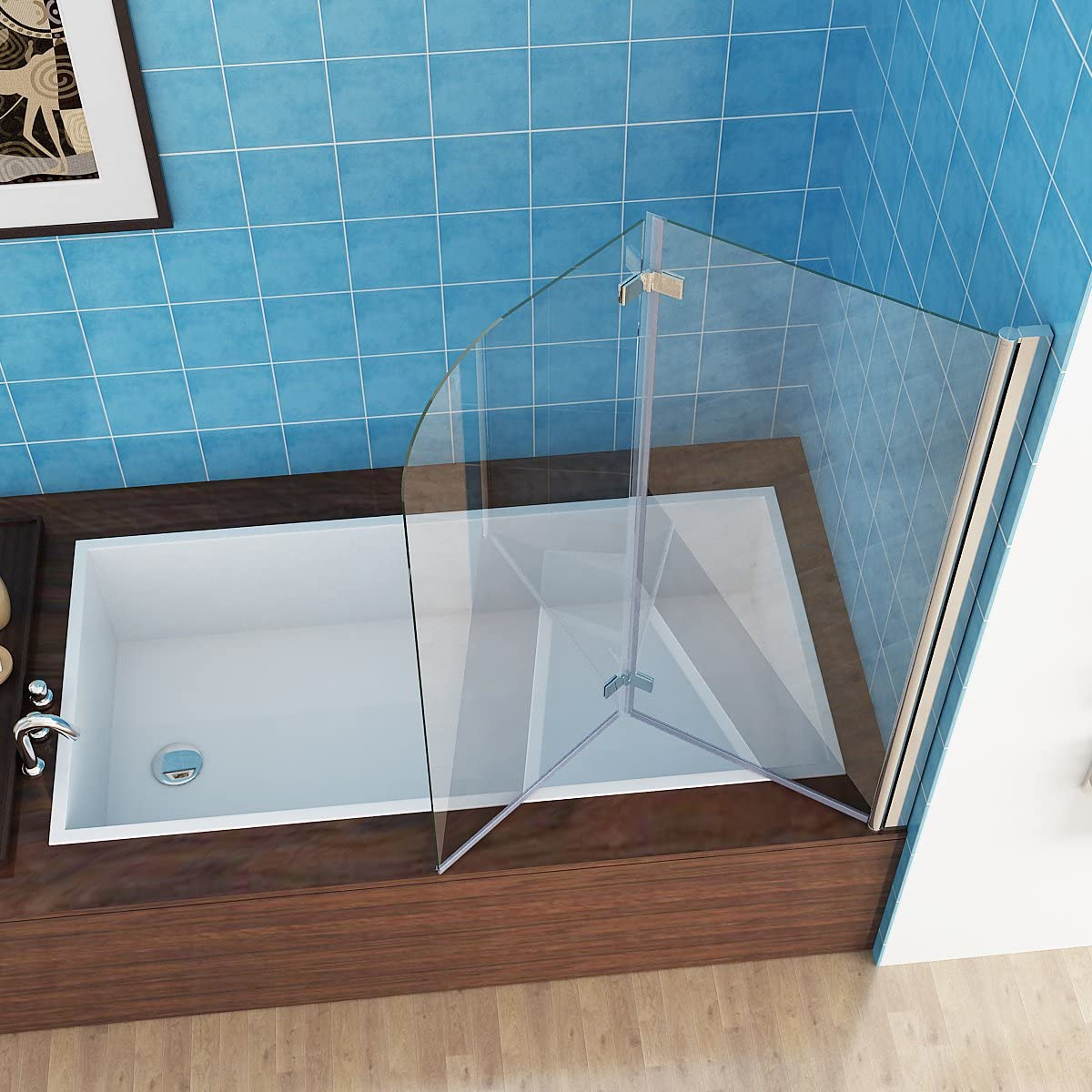 MIQU 1200 x 1400 mm Shower Screen 2 Folding Bath Screen 180° Hinge Door Fold Panel 6mm Easy Clean Glass