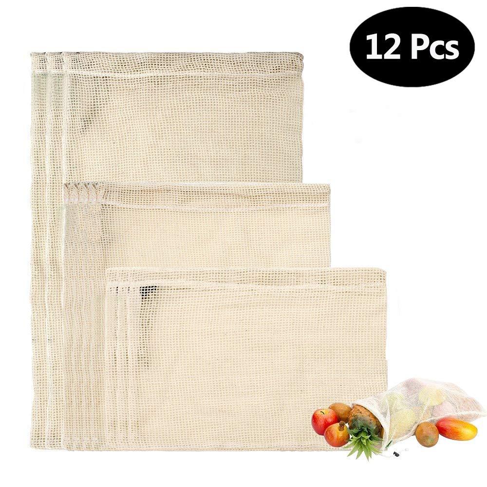 Ailiebhaus Gemüsebeutel aus Baumwolle, Produce Bag Natural Mesh Baumwolle einfach zu reinigen, Zero-Waste, langlebige Double-Stepped Nähte Set von 12 (4 kleine, 4 mittlere, 4 große)Aufbewahrungstasche