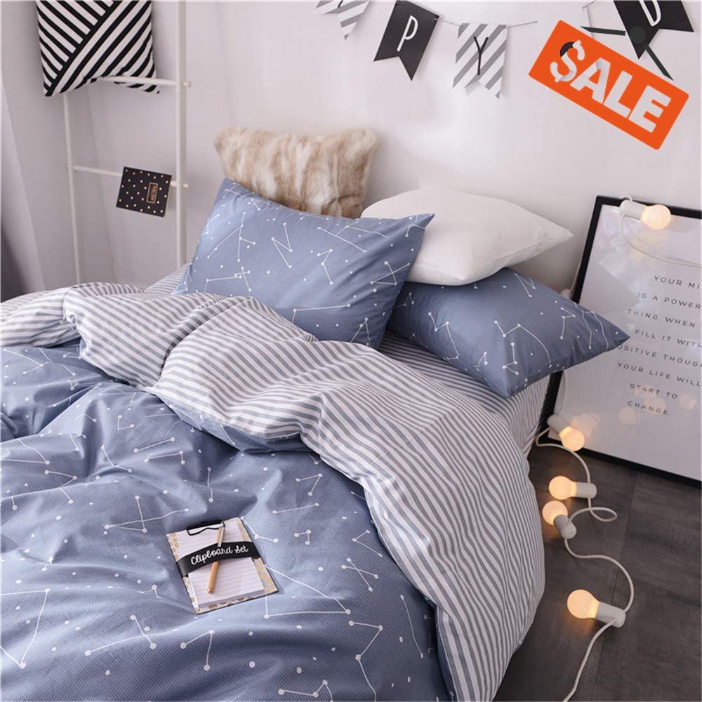 VClife Soft Queen Bedding Sets Chic Cotton Duvet Cover Reversible Constellation Galaxy Printed Bedding Comforter Cover, Kids Teens Adult Stripe Bed Set, Zipper Closure, Breathable, Lightweight, Queen