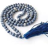 8mm 108 Blue White Beads Buddhist Prayer Mala Necklace