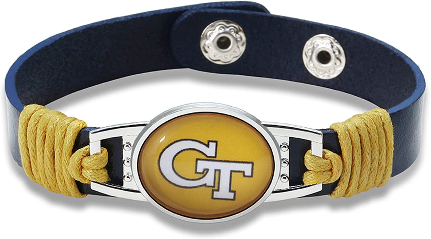 Georgia Tech Yellow Jackets Leather Bracelet with Snap Closure 7 to 9