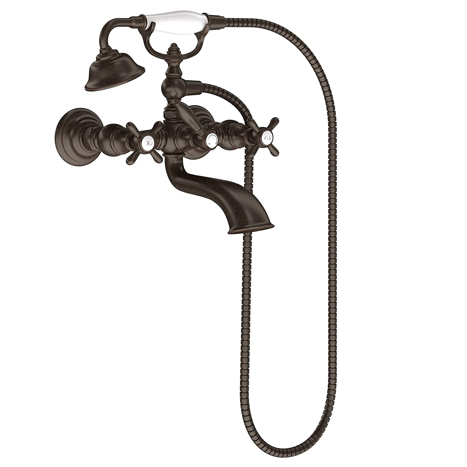 Chrome Moen S22110 Weymouth Two-Handle Freestanding Tub Filler with Lever-Handles and Handshower