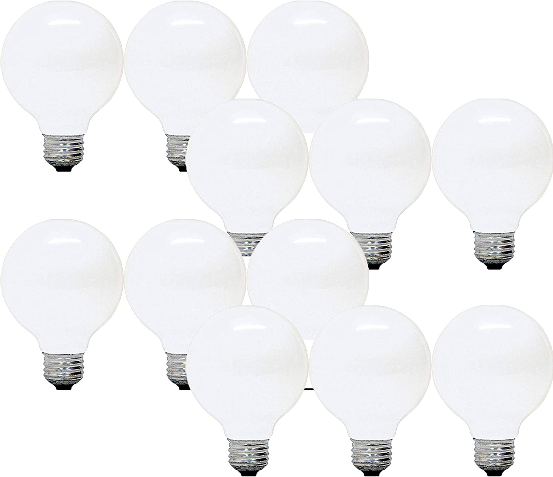 GE Lighting Soft White - 40-Watt 320 Lumens 2600K - 2.7 Year Double Life Decorative G25 Vanity Globe Light Bulbs (12 Bulbs)