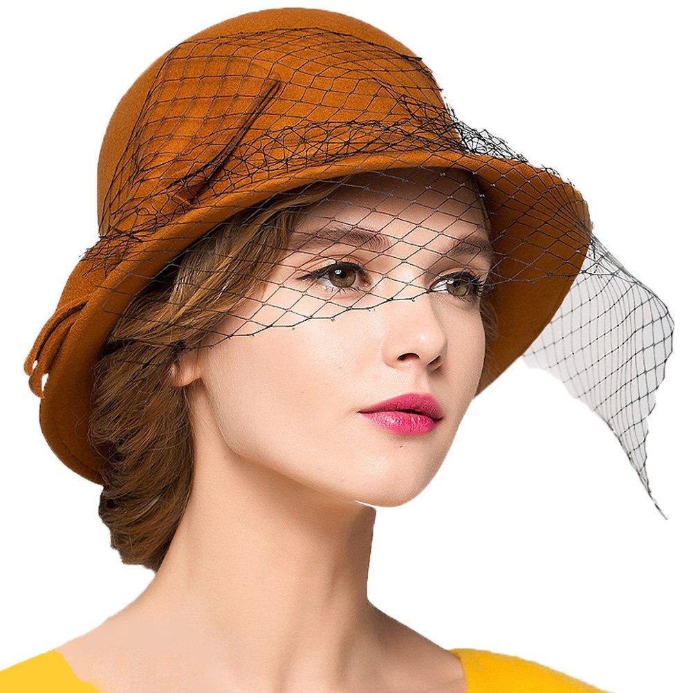Maitose Trade; Women's Vintage Fedoras Wool Felt Veil Hat Orange by Maitose (Image #1)