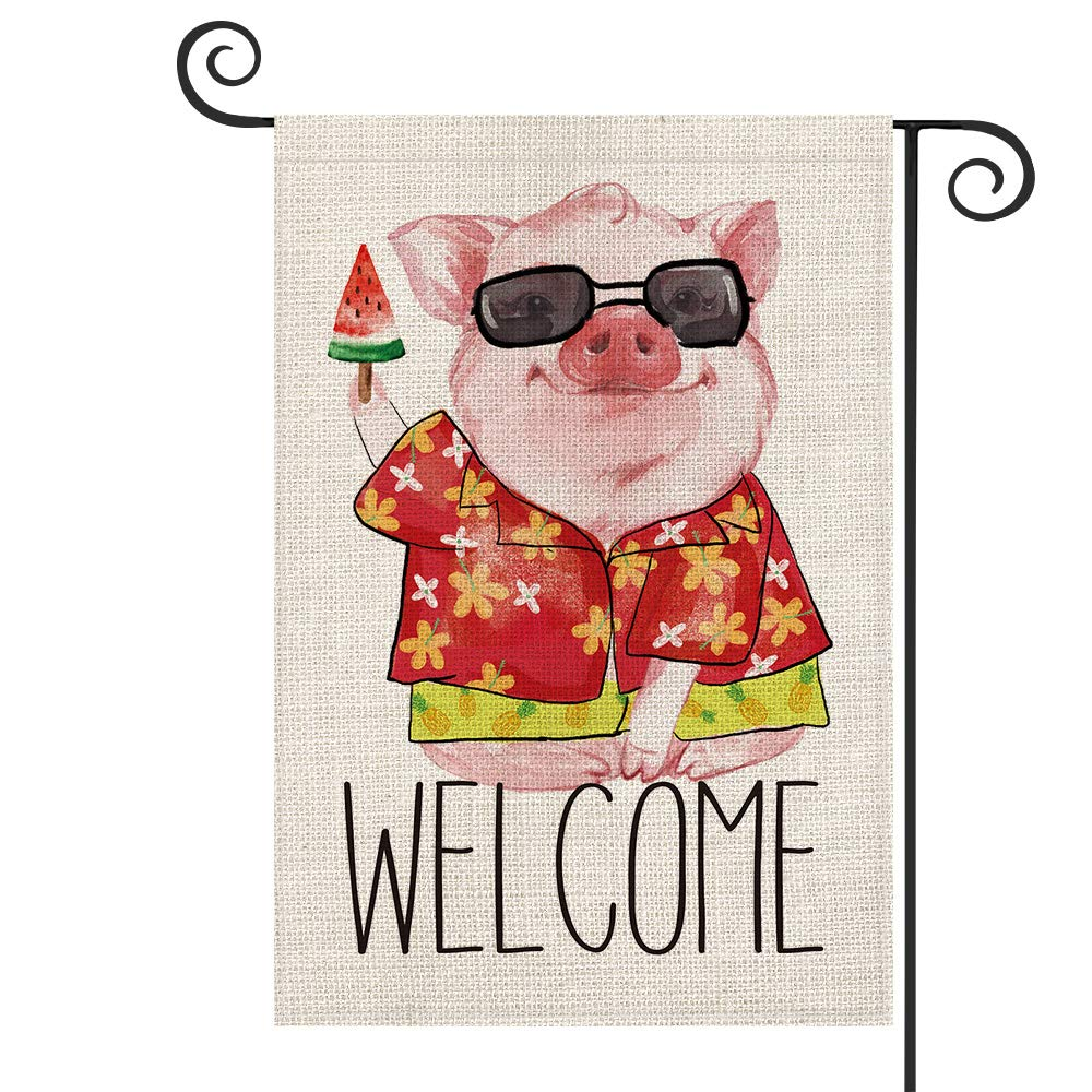 AVOIN Welcome Summer Watercolor Pig Garden Flag Vertical Double Sized, Holiday Party Yard Outdoor Decoration 12.5 x 18 Inch